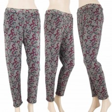 Warm fleece lined printed leggings
