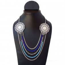 Blue Multi Strand Charm Necklace