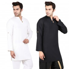 Pack of 2, Black and White Solid Rayon Kurta with Roll-up sleeves for Men