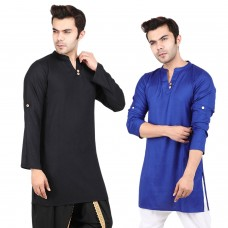 Pack of 2, Black and Blue Solid Rayon Kurta with Roll-up sleeves for Men