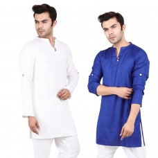 Pack of 2, White and Blue Solid Rayon Kurta with Roll-up sleeves for Men
