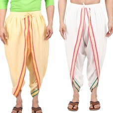 Pack of 2, Cotton Viscose Ready to Wear Dhoti Pants with banarsi border, Elasticated Waistband, Free Size, White and Yellow