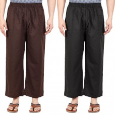 Pack of 2, Cotton Flex Black and Brown Yoga Pant with Elasticated Wasitband and Pockets
