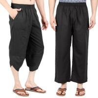 Pack of 2, Full and 3/4th Legnth, Cotton Flex Black Yoga Pants with Elasticated Wasitband and Pockets