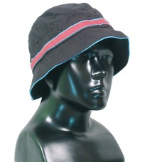Black bucket hat with colored hat band