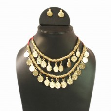 Dual strand gold tone coin necklace set