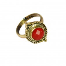 Adjustable red stone ring