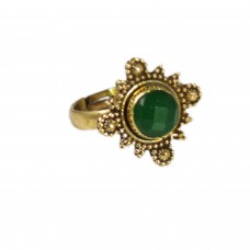 Adjustable green stone ring
