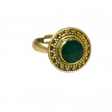 Adjustable round green stone ring