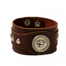 Silver charm brown leather wrist band