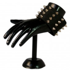 Bold spikes black leather wrist band