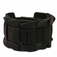 Self design black leather wrist band