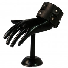 Trendy Black leather wrist band