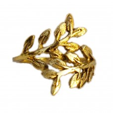 Adjustable ethnic golden leaf metal ring
