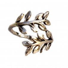 Adjustable ethnic silver leaf metal ring