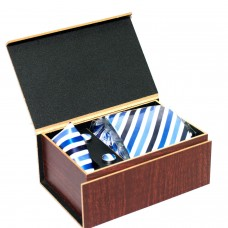 Designer Blue Diagonal Striped Tie Set