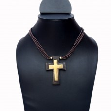Unisex wooden cross pendant necklace
