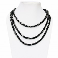 Long black and white seed bead necklace