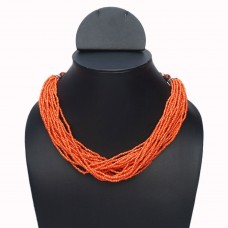Orange multistrand seed bead necklace