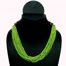 Parrot green multistrand seed bead necklace