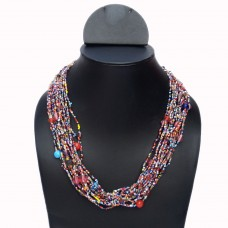 Multicolor layered seed bead necklace