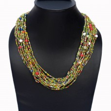 Green shade layered seed bead necklace