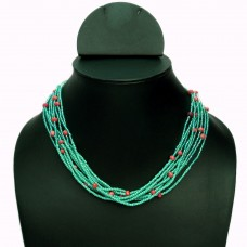 Blueish multistrand seed bead necklace