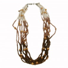 Golden and white multistrand seed bead necklace