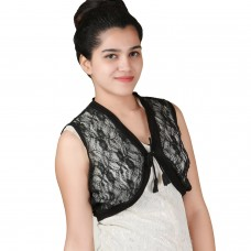 Black Sleeveless short lace shrug