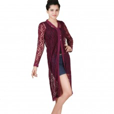 Long Wine purple lace shrug