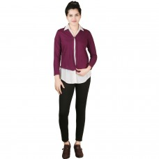 Solid wine purple jersey shrug