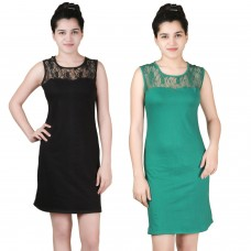 Pack of two lace shift dress black and green