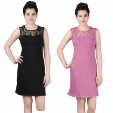 Pack of two lace shift dress Black and Pink