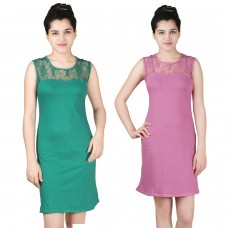 Pack of two lace shift dress Green and Pink