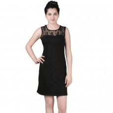 Black lace shift Jersey dress
