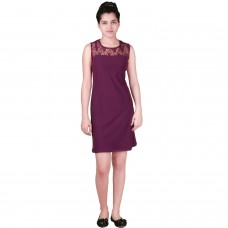 Purple lace shift dress