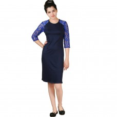 Classy lace sleeves blue jersey shift dress