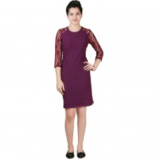 Classy lace sleeves wine jersey shift dress