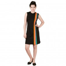Elegant black-Colorful straight  jersey dress