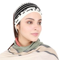 Black and White Woollen  Headband Earwarmer Earmuff