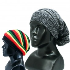 Set of two stylish winter woolen beanie caps