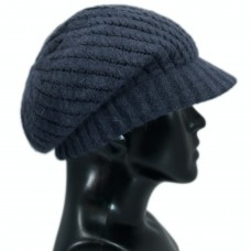 Womens newsboy black woollen cap