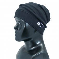 Black fabric beanie cap