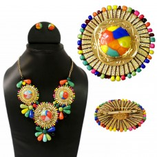 Multicolor Bold Combo of Necklace set and Brooch