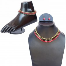 Classic red and green necklace set with anklet