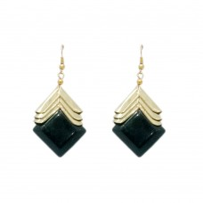 Stylish Black and Golden hanging earring