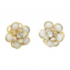 White and golden floral stud