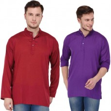 stylish solid maroon and purple rayon short kurta for men (Set of 2)