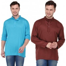 stylish solid blue and brown rayon short kurta for men (Set of 2)