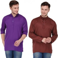 stylish solid brown and purple rayon short kurta for men (Set of 2)